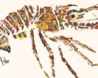 """Lobster - """"da' Bug"""" - Gyotaku Rubbing - Limited Edition Print (24"""" x 12"""")"""