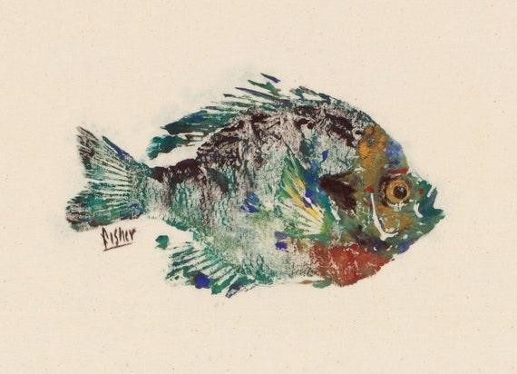 Bluegill - Gyotaku Fish Rubbing - Limited Edition Print (10 x 8)