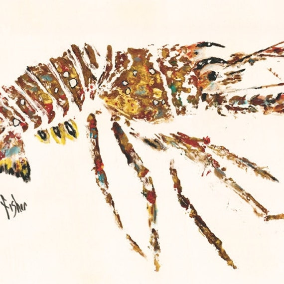 "Lobster - ""da' Bug"" - Gyotaku Rubbing - Limited Edition Print (24"" x 12"")"