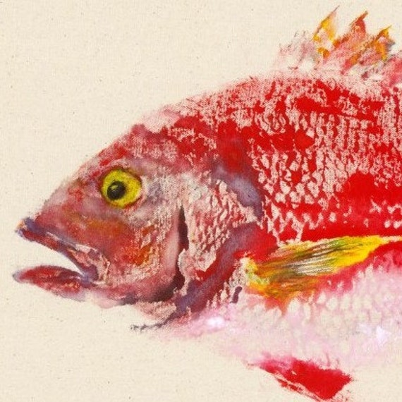 Red Snapper - Gyotaku Fish Rubbing - Limited Edition Print (18.75 x 11)