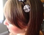 SALE - Black and White Button Headband