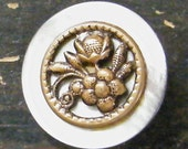 Four MOP Buttons with Brass Floral Overlay - Antique