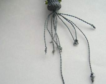 Squid Necklace, Handwoven Fiber, Grey Gray, Funky Beachwear, Weird Necklace, Cuttlefish, Jellyfish, Sea Monster. Cephalopod SQ1