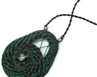 Coiled Green Medallion Necklace, Horsehair Jewelry,Equestrian, Boho Necklace HH13
