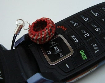 Horsehair Jewelry, Charm for Cellphone, Zipper Pull or Necklace, Red Rcel