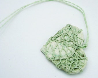 Fishnet Steampunk Pottery and Fiber Knotted Necklace, Celery Green, Valentine HT27