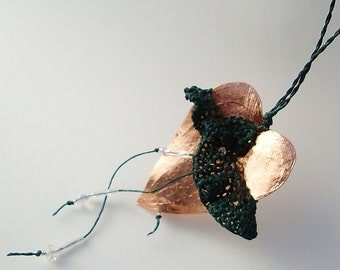 Copper Heart Necklace, Lacey Leaf, Frilled, Forest Green, Lacey Skirted Necklace SL15