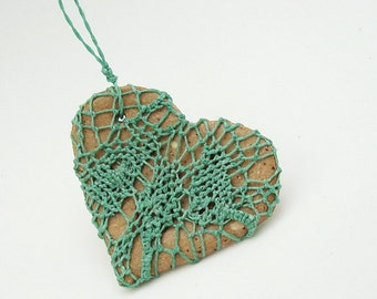Lacy Heart Jewelry for Mom, Mothers Day, Great I Love You Gift, Green Lace