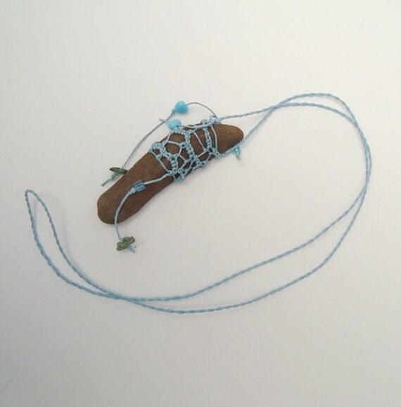 SALE Necklace Rustic Stone ,Sky Blue