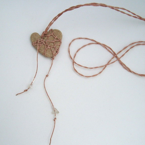Dusty Rose mY hEaRT bELoNGS tO YoU Smooth Rustic Stone Necklace Lace Jewelry Blush Pink