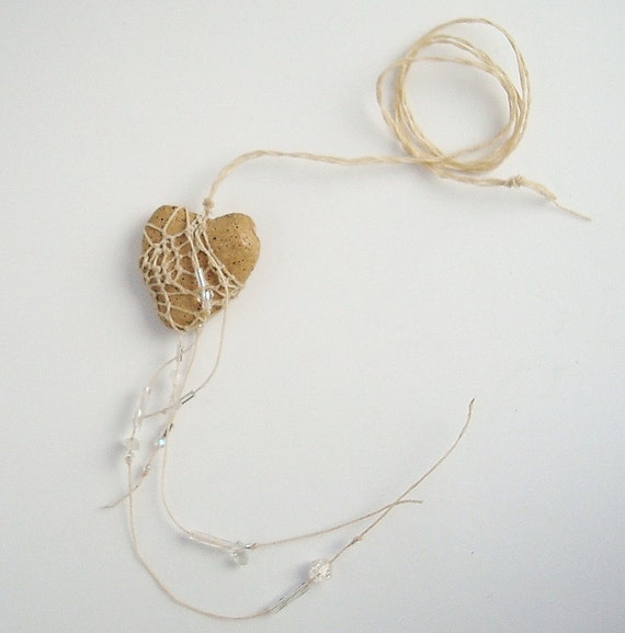 Oh My Broken Heart,  Heart Shaped Faux Stone Necklace Pottery and Fiber
