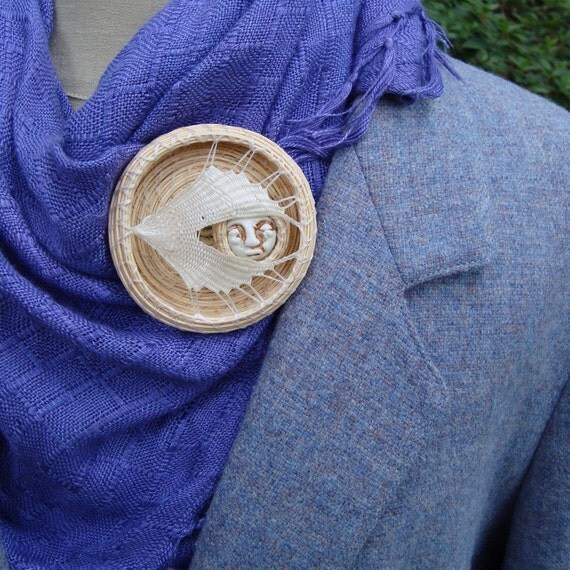 Catching the Moon Pin, Wearable OOAK Art, Porcelain and Fiber BR3