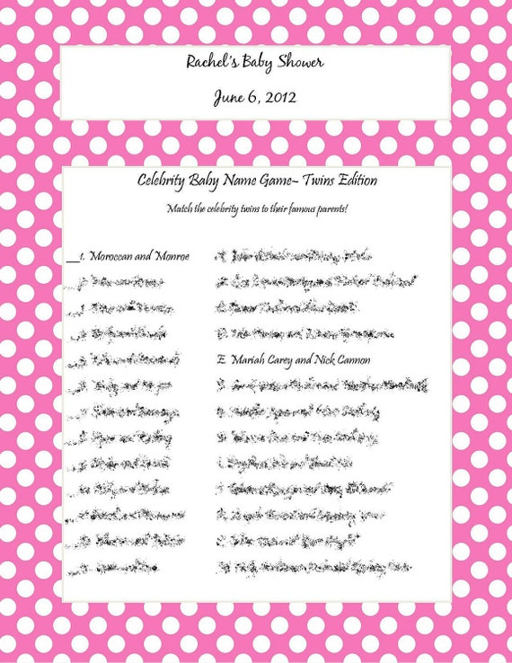 Celebrity Baby Name Game- Twins Edition- Pink with White Polka Dots