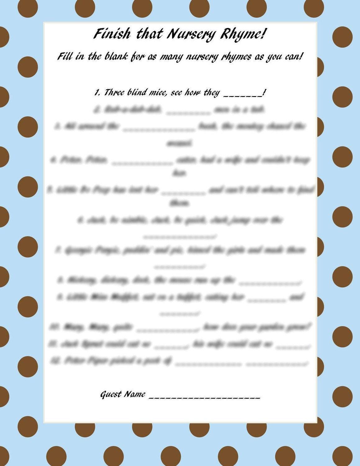 Finish that nursery rhyme blue brown polka by craftygirlcreationz