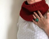 Plain Jane Neck Warmer with ribbed edge - Cranberry