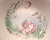 Children's Porcelain Bowl and Plate - Mrs Rabbit  Beatrix Potter Peter Rabbit by Elizabethan