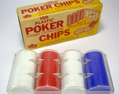 Mid Century Poker Chips with Storage Rack, Red White and Blue by Princess Ware, Poker Night, Las Vegas Poker Night, Casino Card Game