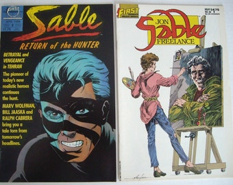 Jon Sable First Comic Books, Set of Two, Collage, Tags, Altered Art, Mixed Media, Scrapbooking, Decoupage