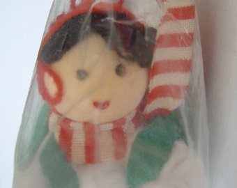 Cute Elf with Backpack and Red Cane Ornament,  Holiday Home Decor