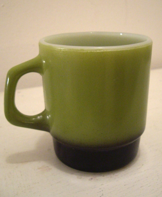 RESERVED A Tang, Green Diner Coffee Cup Mugs Set of Two by Fire King Anchor Hocking