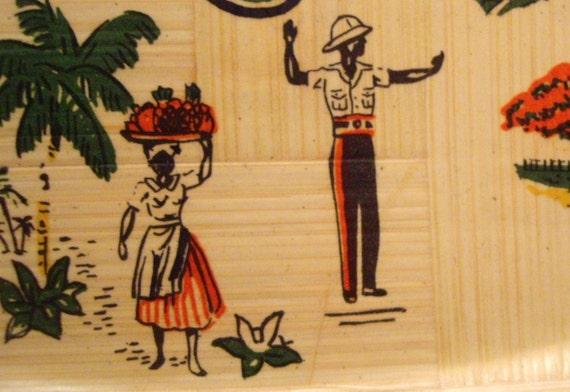 Jamaican West Indies Souvenir Bamboo Platter Free Shipping