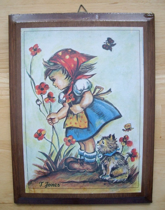 Vintage 1970s Hummel Litho Print Wooden Plaque, Little Girl with Cat Picking Flowers, New in Package, Childrens Kids Room Decor