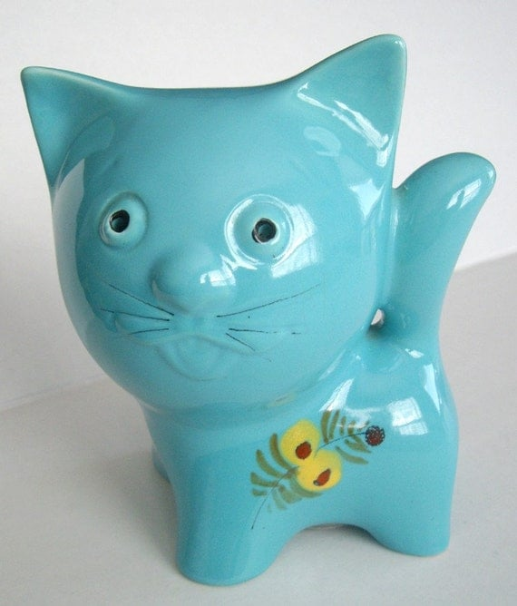 Blue Big Head Kitty Cat Ceramic Coin Bank, with Yellow Flowers, Retro 1970's Home Decor, Childs Room, Kids Room, Under 20