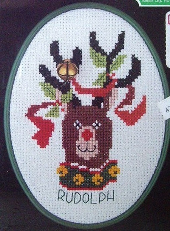 Counted Cross Stitch Kit, Rudolph the Red Nose Reindeer, UNOPENED, Designs for the Needle, Holiday Crafting and Sewing