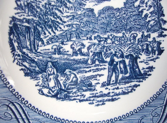 Two Dessert Salad Plates with Decorative Blue Toile Transferware  - Unmarked  - Home decor