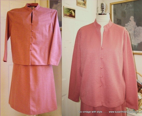size 16 Pink 70's Two Piece Women's Suit with Neru Collar - Plus Size by It's A Lehigh - Skirt and Jacket Suit - Women's Ladies Clothing