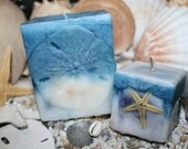 Starfish and Sand Dollar Pillar Candles - Sand and Sea Spray Fragrance