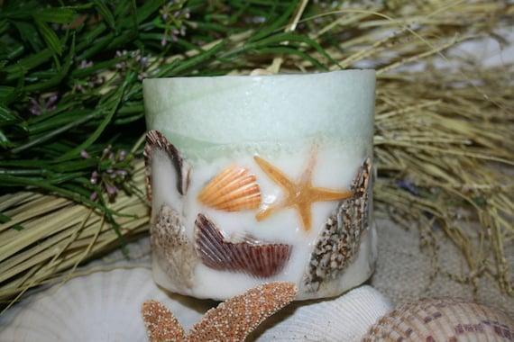 Seashell Candle Tropical Decor - Sand and Sea Spray Fragrance