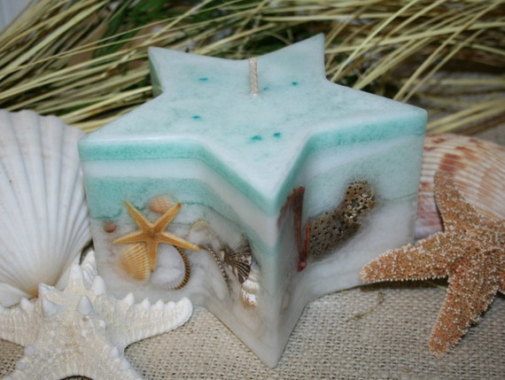 Seashell  Candle  Star with Sea Shells - Turquoise Star Candle - Florida Breeze Fragrance
