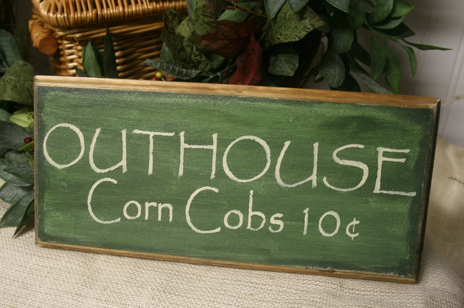 Outhouse Wooden Sign Corn Cobs Rustic