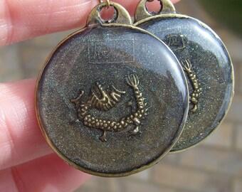 Brass and Resin Earrings