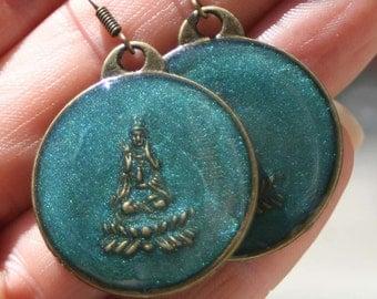 Teal Resin Brass Coin Earrings