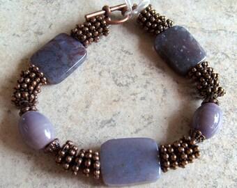Lavender Stone and Copper Bracelet