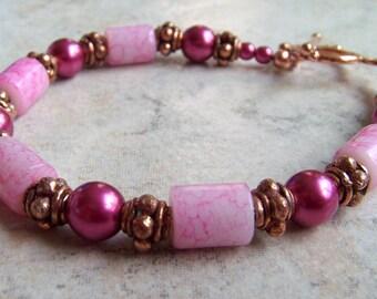 Rose and Copper Bracelet