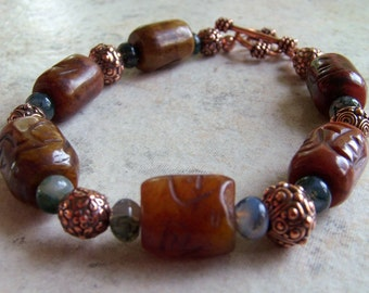 Agate and Copper Bracelet