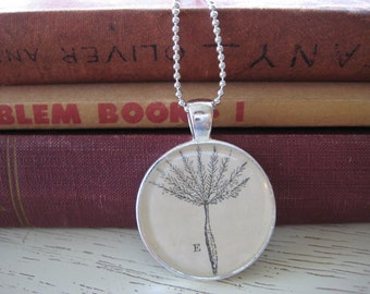Silver Willow Wisp Pendant vintage 1920 Botany Textbook