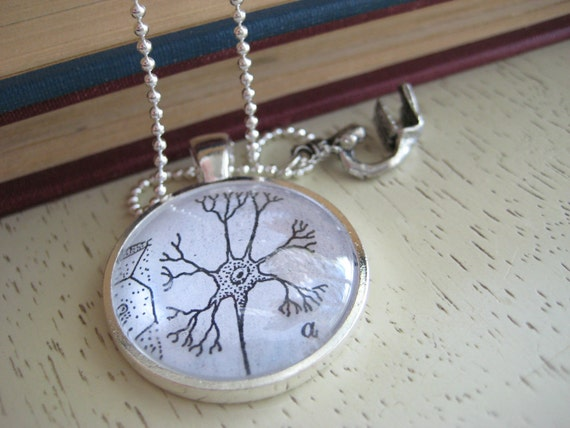 Silver Neuron Cell Body Pendant with pewter handcast microscope Charm