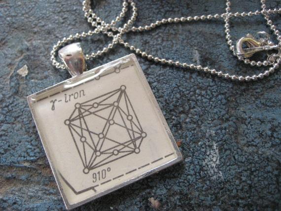Vintage silver Iron Crystal Lattice Pendant