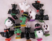 12 Wire Wrapped Fun Glass Halloween Beads