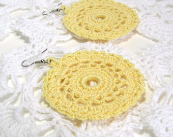 Lace Doily Earrings Sunny Yellow Crochet Jewelry Dangle Circles