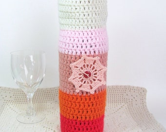 Wine Cozee Bottle Sock Cozy Sunrise Colors Peach Doily Housewarming Gift