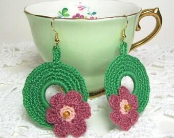 Dangle Earrings Grass Green Spring Wreath Crochet Circle Beaded Flower Fashion Jewelry Lilena Design One of a Kind OOAK
