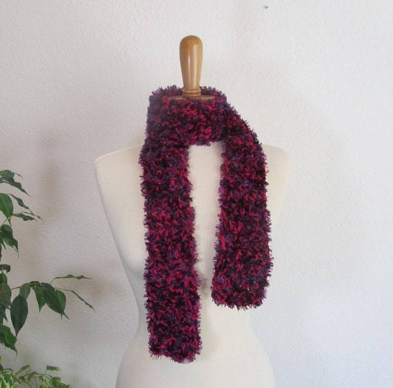 Purple Neckwarmer Skinny Scarf Hot Pink Berry Grape Novelty Yarns Textured Gift for Her Fashion Accessory