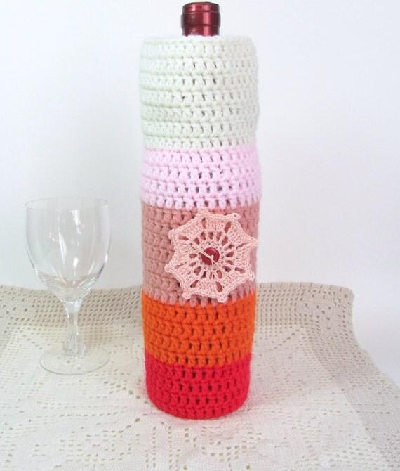 Wine Cozee Bottle Sock Cozy Sunrise Colors Peach Doily Housewarming Gift