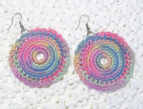 Pastel Rainbow Crochet Earrings Lace Doily Dangles Circle Jewelry Summer Fashion Ombre Thread Gift for Her Mothers Day Handmade by Lilena