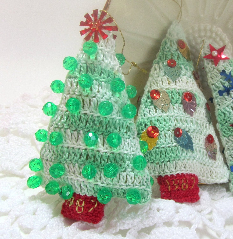 Christmas Tree Ornaments Crochet Decorations Vintage 1980s